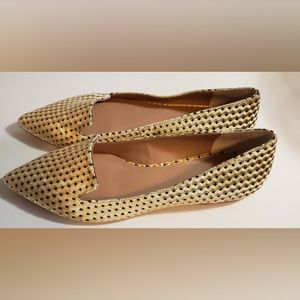 Anthropologie Women's Gold Felt Flats Size10M NWOT